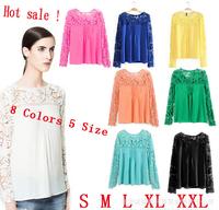 New Fashion Women Blouses Lace Chiffon Blouse Embroidery Female Shirts Long Sleeve Hollow Crochet Tops Plus Size XXL-S