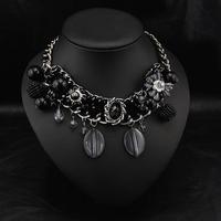 Aliexpress Jewelry Wholesale Bojoux Fashion Vintage Rosary Brand Women Collars Black Statement Necklace