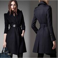 Winter ZA Wool Long Coat  Women Slim Fashion Woolen Outwear Jacket Belt Turn Down Collar Blue Coat Female A279