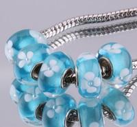 5PCS 925 sterling silver DIY thread Murano Glass Beads Charms fit Europe pandora Bracelets necklaces  /gmgapdna gzsapqza F385