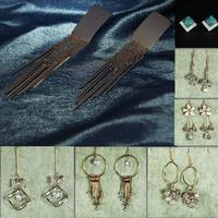 Discount High Quality 7pcs/lot Long Dangle Earrings Zircon Pierced Drop Earrings For Women Clearance Sale Cheap Beautyer BEH23