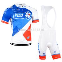 Hot Sale FDJ Team 2015 Cycling Jersey bib Kit Short Sleeve+bib Shorts Men Ropa Ciclismo Bike Wear MTB Outdoor Clothing