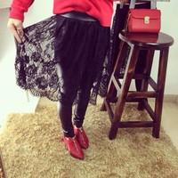 Kids winter 2014 new Korean girls lace skirt was thin in Europe and America Fan Jia thick velvet leggings tide