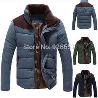 New 2014 Winter Mens Stylish Slim Fit Jacket Cotton Padded Patchwork Keep Warm Overcoat Casual Coat Size L XL XXL
