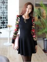 Top Selling Casual New Arrival Autumn Print Slim Dress Women Floral Full Sleeve Falbala Office Dress New Brand Dresses