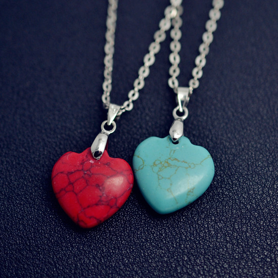 New Fashion jewelry turquoise heart design pendant necklace for Women Girl lover Valentine s Day gifts