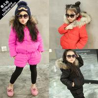 New dress 2014 winter new Korean girls hooded fur collar coat + pants suit children winter models