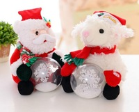 Hot Selling 28cm Santa Claus Christmas Gift Adorable Santa Claus Plush Doll with Snowball Luminous Letter Christmas gift
