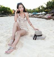 2015new holiday resort sexy openwork crochet knit cover casual dress vestido de festa