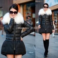 New fashion winter women's thickening beach wool large fur collar cloak medium-long down jakcets trend women wadded coat