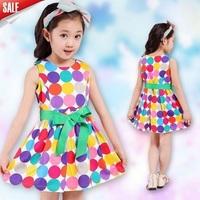 princess dress 2014 together girl's fashion apparel 3~12age teenage polka dots print cotton girl dress 1pcs retail free shipping