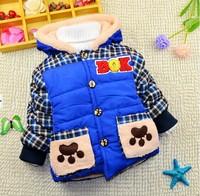 1-4Y 2014 winter little boys warm cotton-padded jacket coat imitated fur fleece liner X14063