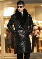 Men Genuine sheep leather down jacket,winter down coat.outwear clothing.long style Fox Fur leather jacket.