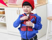 2014 NEW fashion Korean autumn Children boys Spiderman coats baby clothing Hooded Sweatshirts Free shipping