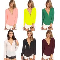 New 2014 Women Blouses Long Sleeve Casual V-Neck Zipper Chiffon Blouse Plus Size Blusas Femininas Shirt Tops Sale B-2042