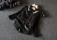 2014 winter new children's clothing girls lace collar plus thick quilted velvet long-sleeved shirt tide