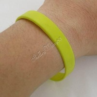 Cool Silicone Rubber Bangle Elastic Belt Soft Sport Cuff Bracelet Solid Yellow