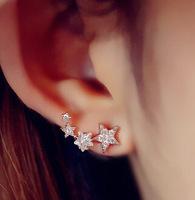 2015 New Zircon Sterling Silver stars hypoallergenic fashion Korean Jacket earrings for Women Valentine's Gift