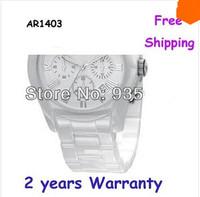 New men's Ceramic White Dial Watch AR1403 1403 with Original box