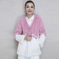 Women Fur Coat Joining Together Top Copenhagen Braided Pink Mink Fur Coat High-grade Decorative Pattern Genuine Mink Fur Coat