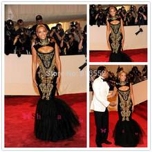 2015 hot sexy abiti da sera beyonce gala nero e ricami in oro bordato collo alto lunghezza del pavimento della sirena celebrity dresses QA114(China (Mainland))