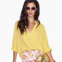 Europe Style Sexy V-neck Yellow Color  Solid Color Long Sleeve Chiffon Shirts Tops For Free Shipping And Wholesale