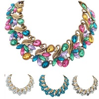 Vintage Retro Necklaces Jewelry 2015 New Fashion  Metal Leaf  Necklaces For Women Statement Necklace  DFX-722