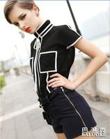 Free Shipping 2014 New Fashion Women Tops Blouses Black And White Chiffon Tee Shirt Blouse For Woman T Shirts