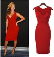 European Style Cheap Summer Dress 2015 Fashion Women Sexy Red Deep V-neck Evening Dress Party Casual Dress Women Plus Size Dress