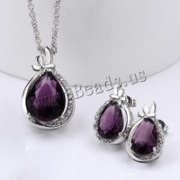 Free shipping!!! Jewelry Set,innovative, Brass, earring & necklace, with 2lnch extender chain, Teardrop, platinum plated