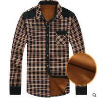 Thick warm autumn and winter men's plaid shirt men long sleeve shirt men's casual plus velvet Brushed 00118