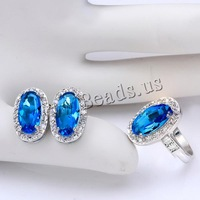 Free shipping!!! Jewelry Set,Brand jewelry, Brass, finger ring & earring, Flat Oval, platinum plated, with cubic zirconia, blue