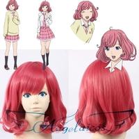 Angelaicos Noragami Kofuku Girl Short Red Curly Costume Party Thanksgiving Cosplay Full Wig