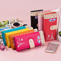 2015 Hot Sale Freeshipping Unisex The New Korean Lady Purses Wholesale Pu Hasp Tower Long Wallet Zero 0322c Mobile Phone Bag