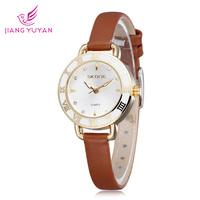 Skone brand women watch leather straps watches with crystal diamonds fashion casual quartz analog wristwatches