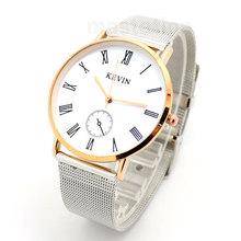Nueva llegada de la venta caliente moda Casual KEVIN números romanos oro rosa shell reloj de pulsera Q10