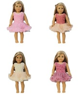 "18"" American Girl Doll Romantic / Light Pink / Tea Rose / Champagne / Dusty Pink Rosettes Party Dress"