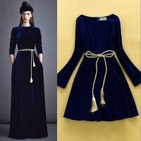 HIGH QUALITY New Fshion Winter Dress Women's Long Sleeve Noble Solid Velvet Dress