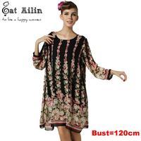 summer dress 2015 plus size Chiffon casual Dresses for Women long sleeve floral Printed mini Dress 5xl 4xl xxxl xxl P00081