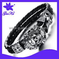 2014 Gus-STLB-010 New arrival Fashion Restoring ancient ways punk skull bracelet with leather bracelet