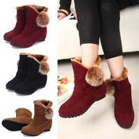 O122 Women Faux Leather Ankle Flat Boots Winter Warm Snow Boots Ladies Fashion Outdoor Shoes Free Shipping