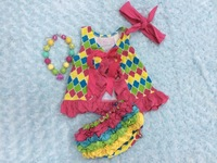 FASHION baby girl toddler rainbow quatrefoil pink swing top baby swing outfits swing sets