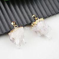Druzy 6pcs Natural Quartz Crystal Drusy Stone Gems Pendant Bead Jewelry Finding