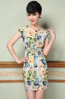 spring and summer 2015 new plus size Temperament lady dress short sleeve flower print dress slim XXL XXXL casual dress G86Y
