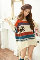 2014 new fashion sweater Christmas Leisure Women Loose big yards Knit Cardigan Deer Factory Direct Free shipping