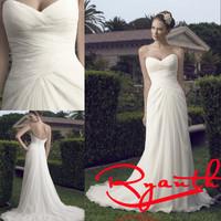 RBW128 Vestidos De Noiva Princess Sweetheart Backless Chiffon Long Wedding Dresses 2015 New Arrival Bridal Gowns Wedding Dress