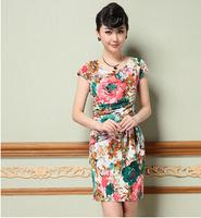 M-XXXL plus size women dress spring/summer slim vintage flower print dress for elegant lady short sleeve casual women dress G99Y