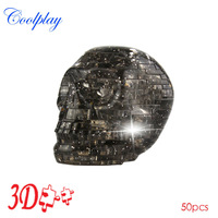 Free Shipping CP9056A Newly design DIY Funny Pisces Skull Crystal 3D Puzzles with color lights 50pcs best toys for children
