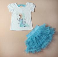 2014 Girls  Dress + T shirt 2 Pcs Set 3-8Age Sky Blue Layered Tutu Dress Sets