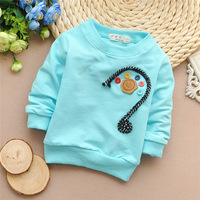 4pcs/Lot Free shipping 2015 Spring New baby boys and girls Buttons long-sleeved t-shirt,children t-shirt,kid clothing#Z941